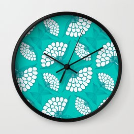African Floral Motif on Turquoise Wall Clock