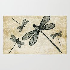 Dragonflies on tan texture Rug