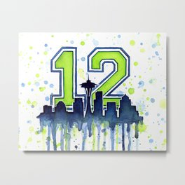 Seattle 12th Man Art Skyline Watercolor Metal Print