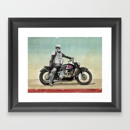 Looking for the drones, Scout Trooper Motorbike Framed Art Print