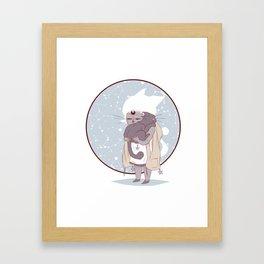 Moon child (blue) Framed Art Print