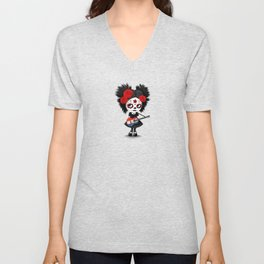 Day of the Dead Girl Playing Dutch Flag Guitar Unisex V-Neck