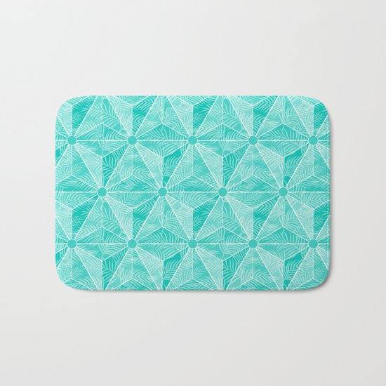 Geodesic Palm_Turquoise Bath Mat