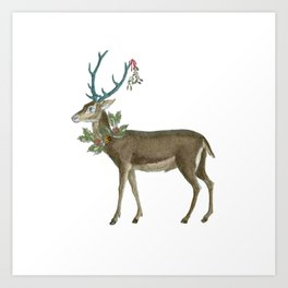Artsy Christmas reindeer Art Print
