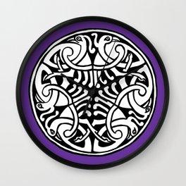 Celtic Art - Interlaced Birds - on Purple Wall Clock