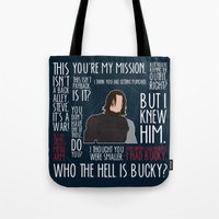 the winter soldier Tote Bags featuring The Winter Soldier by MacGuffin Designs