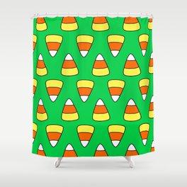 Green Candy Corn Shower Curtain