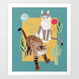 Whiskers and Yarn cadet blue Art Print