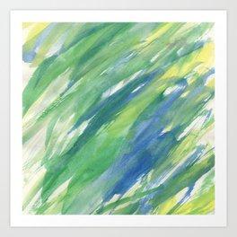 Blue green yellow watercolor hand painted brushstrokes Art Print
