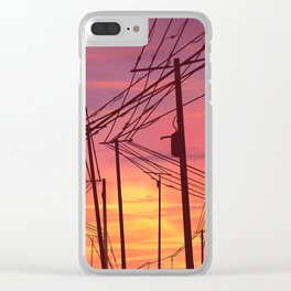 sunset & powerlines Clear iPhone Case
