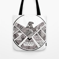 agents of shield Tote Bags featuring SHIELD (no background) by Ruth Ms
