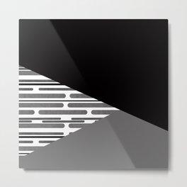 Geometric patchwork modern black gray abstract shapes Metal Print