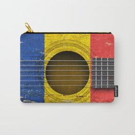 Old Vintage Acoustic Guitar with Romanian Flag Carry-All Pouch