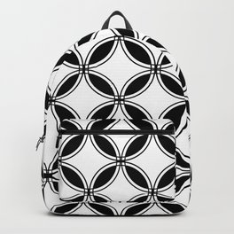 Large White Geometric Circles Interlocking on Black Background Backpack