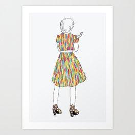 a girl in a dress Art Print
