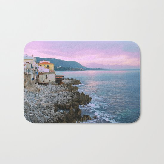 Cefalu Italy Coast Sunset Bath Mat