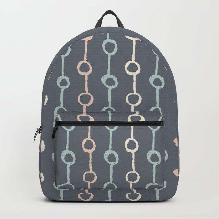 Polka Dot Stripe Pink Cream Green on Gray Backpack