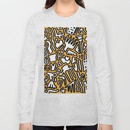 black doodle on orange Long Sleeve T-shirt