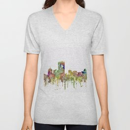 Boston, Massachusetts Skyline SG - Faded Glory Unisex V-Neck