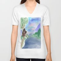 cabin V-neck T-shirts featuring Peaceful Cabin by Christina Dugger