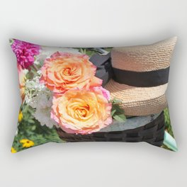 Roses, Straw Hat and Bicycle Rectangular Pillow