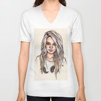 sky ferreira V-neck T-shirts featuring Sky Ferreira by vooce & kat