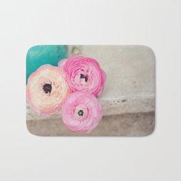 Pink Ranunculus Bouquet mint green Bath Mat