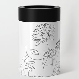 Minimal Line Art Woman with Flowers III Can Cooler