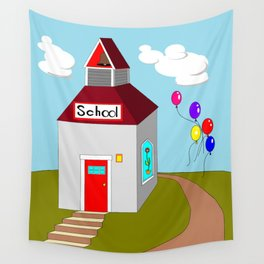 An Ole School House with Balloons Wall Tapestry