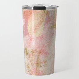 Rustic Gold and Pink Abstract Travel Mug