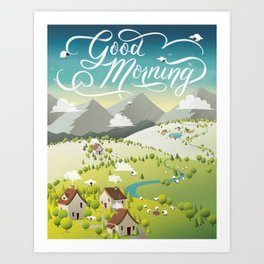 Whimsical Sheep Art Print