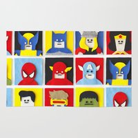 heroes Area & Throw Rugs featuring Felt Heroes by Jacopo Rosati