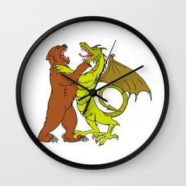 Chinese Dragon Fighting Grizzly Bear Drawing Color Wall Clock