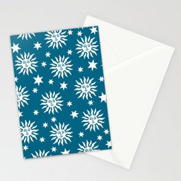Mid Century Modern Sun and Star Pattern Peacock Blue Stationery Cards