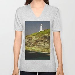 Trevose Head Lighthouse, Cornwall, United Kingdom Unisex V-Neck