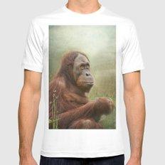 Orangutan MEDIUM White Mens Fitted Tee
