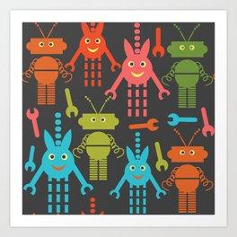 Robots pattern F41 Art Print
