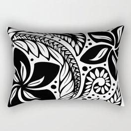 Circular Polynesian Black Floral Tattoo Rectangular Pillow