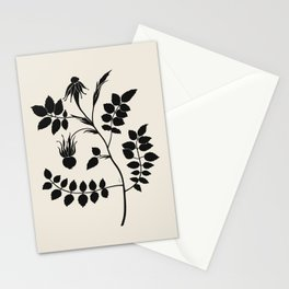Black Flower, Rose Minimalist Abstract Plant Stationery Cards