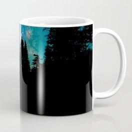 Blue White Milky Way Galaxy At Night Stars At Night Black Trees Silhouette Coffee Mug