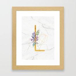 Modern glamorous personalized gold initial letter L, Custom initial name monogram gold alphabet prin Framed Art Print