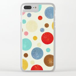 Multi coloured polka dots in pastel shades Clear iPhone Case