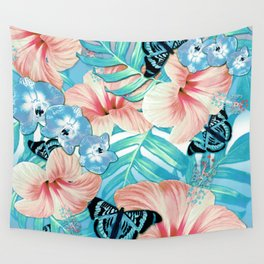 Tropical Spring Aqua Wall Tapestry