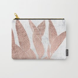 Modern faux Rose gold leaf tropical white marble illustration Carry-All Pouch
