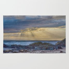 Sunset and God beams - watercolour Rug