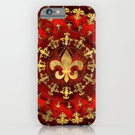 Fleur-de-lis ornament Red Marble and Gold iPhone Case