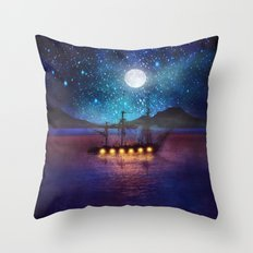 The lights and the Silent Water Throw Pillow