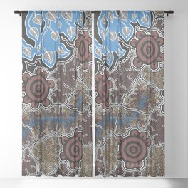 Water Lilly Dreaming - Authentic Aboriginal Art Sheer Curtain