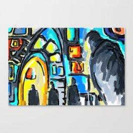 Yellow door in the night Canvas Print