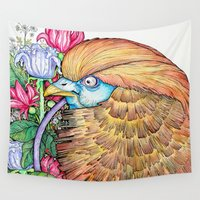 wesley bird Wall Tapestries featuring BIRD by • PASXALY •